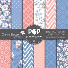 Floral digital paper Cherry Blossom digital by POPprintonpaper