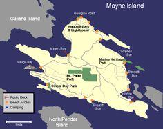 Mayne Island, British Columbia Island Map, Sunshine Coast, British Columbia, Lighthouse, Places To Travel, Wander, Islands, Salt, Doodles