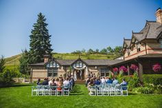 Incredible lawn wedding ceremony location at Bow Valley Ranche Restaurant! By Calgary wedding photographers Anna Michalska Photography Calgary Wedding Venues, Outdoor Wedding Venues, Wedding Ceremony, Restaurant Wedding, Nontraditional Wedding, Wedding Portraits, Lawn, Photographers, Backdrops