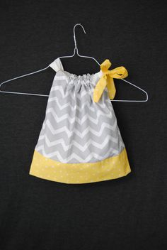 Grey Chevron with Yellow Polkadots Pillocase by TheLittle1914Shop, $26.00