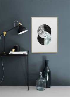 Modern art prints online with marble in scandinavian design