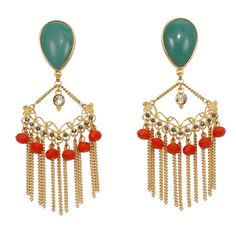 Coral and Turquoise Earrings by Ana Pamplona Acessorios