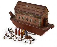 A German painted pine toy Noah's Ark, mid 19th century :