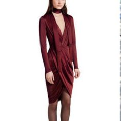 Wrap dress Altuzarra for Target. Wine color wrap dress. Comes with matching fringe scarf to wear as belt or around the neck. Very flattering! Altuzarra Dresses Long Sleeve