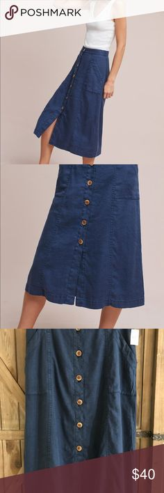 """Anthropology Akemi + Kin Riverine Midi Skirt NWT/beautiful blue/button front closure/can wear year round/54% Linen, 44% Lyocell and 2% Spandex/lining is 100% Cotton/machine wash and tumble dry/32"""" waist/32"""" length Anthropologie Skirts Midi"""