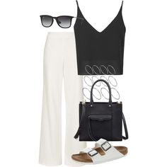 Untitled #2335 by oliviaswardrobe on Polyvore featuring polyvore fashion style Topshop Birkenstock Rebecca Minkoff ASOS Ray-Ban
