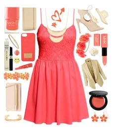 """""""Peach and Gold"""" by lexi-loves-fashion ❤ liked on Polyvore featuring H&M, Aquazzura, ALDO, NYX, Bobbi Brown Cosmetics, Liz Claiborne, Nails Inc., Max Factor, Charlotte Russe and J.Crew"""