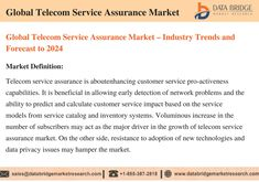 Global telecom service assurance market accounted for USD 5.01 billion in 2016 growing at a CAGR of 11.1% during the forecast period of 2017 to 2024. The upcoming market report contains data for historic year 2014, 2015, the base year of calculation is 2016 and the forecast period is 2017 to 2024. Information And Communications Technology, Market Research, Definitions, Accounting, Period, Base, Marketing