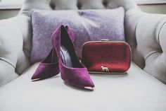 Purple suede, gold tipped court shoes    Photography by http://marymcquillanphotography.com/