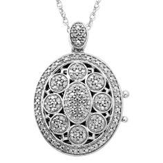 1/4 CT. T.W. Diamond Vintage Oval Locket in Sterling Silver - Gordon's Jewelers