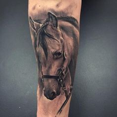 Stunning horse portrait tattoo by Tattoos On Side Ribs, Head Tattoos, Wolf Tattoos, Animal Tattoos, Body Art Tattoos, Tatoos, Horse Tattoos, Wolf Tattoo Sleeve, Sleeve Tattoos
