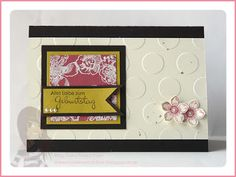 Stampin' Up! rosa Mädchen: Swapcycling Geburtstagskarte mit Punkten und Blumen