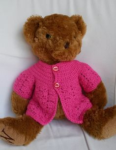 8429e081dc5 Ravelry  Teddy bear jacket pattern by linda Mary Crochet Teddy Bear Pattern