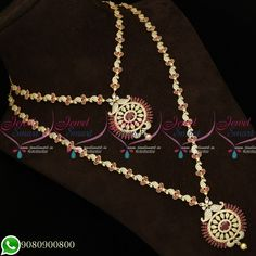 Gold Plated Jewellery Necklace Haram Combo Designs AD Stones Matching Bridal Set Total length of the short necklace is 9 inches inches on both sides). Width of the necklace is 8 mm. Back chain is attached Total length of the long necklace is Short Necklace, Necklace Set, Gold Necklace, American Diamond Jewellery, Diamond Jewelry, Imitation Jewelry, Emerald Stone, Diamond Design, Bridal Sets