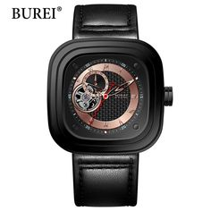 105.99$  Watch now - http://ai991.worlditems.win/all/product.php?id=32803998011 - 2017 BUREI Retro  Mens Automatic Mechanical Watch Men Wristwatches Skeleton Rectangle Watches Genuine Leather Strap Gift +BOX