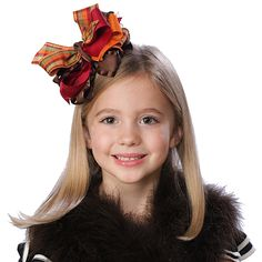 Over The Top Fall Holiday Hairbow - This trendy over the top Fall Holiday bow will be a perfect addition to bring in the cooler weather and new Fall outfits!  Made with tons of coordinating warm ribbon types and styles in just the right colors to blend with anything!  www.PinkBowtique.com