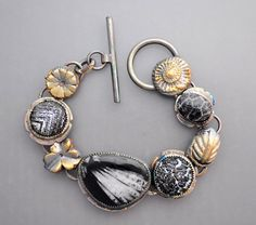 Black and Gold by Temi on Etsy  Wonderful use of color, texture and pattern.