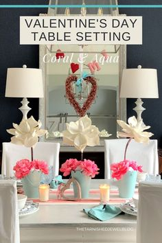 Looking to create your own Valentine table setting, need centerpiece ideas, or just want a little color inspiration this year? Try Valentine's Day Table Setting: Coral & Aqua by thetarnishedjewelblog.com. #valentinesdaydecor #valentinesdaydecorations #valentinestablescape #valentinestable #valentinesdecor #valentinesdiy #diyvalentinesdecor #diyvalentinesday #pinklove #showusyourvalentinesdaytablescapes #valentinesday2021 #valentinecenterpiece #valentineheart #valentinewreath #heartwreath Centerpiece Ideas, Floral Centerpieces, Table Decorations, Valentine Wreath, Valentines Diy, Coral Aqua, Turquoise, Table Place Settings, Painted Flower Pots