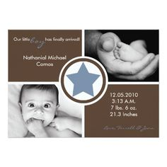5x7 Baby Boy Blue Star Photo Birth Announcement Custom Invites! Make your own invites more personal to celebrate the arrival of a new baby. Just add your photos and words to this great design.