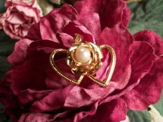 Double Heart and Rose Flower Pendant with by SpringJewelryThings, $12.95