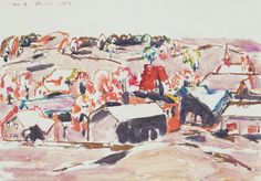 David Brown Milne Canadian, Palgrave, 1939 watercolour on paper x cm Canadian Painters, Canadian Artists, David Milne, Intaglio Printmaking, Watercolor Techniques, American Art, Farms, New Art, Painting & Drawing