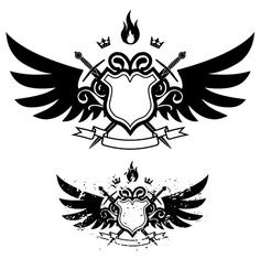 Wings, shield, sword, fire combination of vector banner