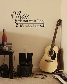 to ] Great to own a Ray-Ban sunglasses as summer gift.Music is not what I do, It's who I am - Vinyl Wall Quote Decal studio music room Band Nerd, Music Bedroom, Band Rooms, Music Studio Room, Guitar Room, Drum Room, Piano Room, Big Music, Vinyl Wall Quotes