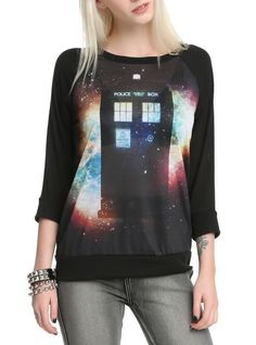 Black raglan sleeve crewneck pullover with space TARDIS sublimation design on front. I desperately want this.