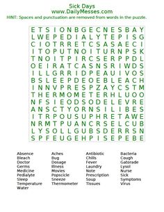 daily messes national junk food day word find word