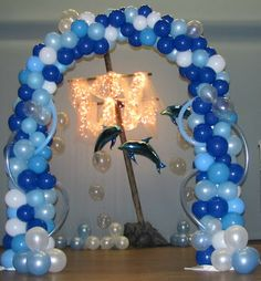 Party People Celebration Company - Special Event Decor Custom Balloon decor and Fabric Designs: Prom Fashion Show - Under the Sea Under The Sea Decorations, Balloon Decorations, Mermaid Decorations, Balloon Centerpieces, Dance Themes, Prom Themes, Under The Sea Theme, Under The Sea Party, After Prom