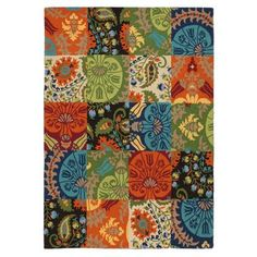 Patchwork Rug in Espresso (Geometric Pattern, Hooked Rugs) | Handmade Area Rugs from Company C