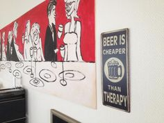 Schild: Beer is Cheaper Than Therapy Therapy, Art, Signs With Sayings, Ceilings, Beer, Art Background, Kunst, Counseling, Art Education
