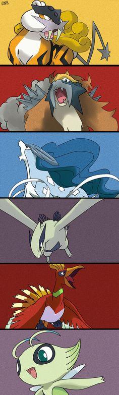 Johto legendaries ( the legendary beast trio: Raikou, Entai and Suicine. Ho-Oh and Lugia and Celebi. Some of my favorite legendaries. I fucking love Lugia and Celebi. Pokemon Gif, Pokemon Eevee, All Pokemon, Pokemon Fusion, Lugia, Videogames, Fan Art, Pokemon Pictures, Catch Em All