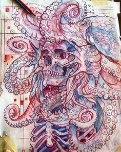 Эскиз тату со скелетом и осьминогом