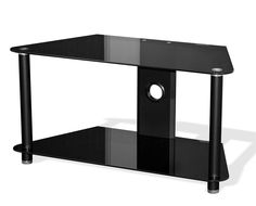 Stealth TV Stand for TV's up to 42 inches. >The simple, yet stylish Stealth TV Stand will accent any modern day living room. Designed to fit all televisions up to 42 inches, each of the 2 fixed shelves are black silkscreen glass that has been processed through a fully automated, climate controlled production envirnoment and has been tempered to BS6206a for added safety in your home. The front and rear legs are made of steel and are 1.49 inches in diameter. They are painted in a strudy…