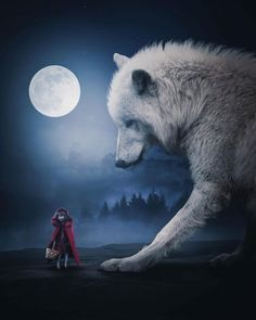 Dreamlike Photo Manipulations by Zenja Gammer Giant Animals, Big Animals, Fantasy Wolf, Fantasy Art, Love Art Images, Wolf Artwork, Werewolf Art, Wolf Photos, Wolf Wallpaper