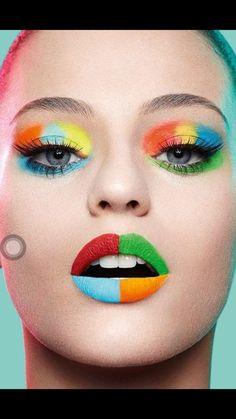 Colors make up makeup, makeup art ve beauty makeup Make Up Looks, Makeup Inspo, Makeup Inspiration, Creative Inspiration, Extreme Makeup, Rainbow Makeup, Rainbow Lips, Beauty Make-up, Natural Beauty