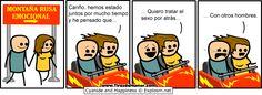 Tira cómica de Cyanide and Happiness EN ESPAÑOL: Montaña Rusa Emocional