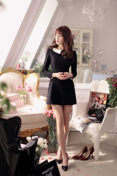 Japanese style - black pearl clasp ladies temperament was thin dress - AddOneClothing - 2