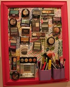 Magnetic makeup board...  What a great idea!  I'm so doing this!!