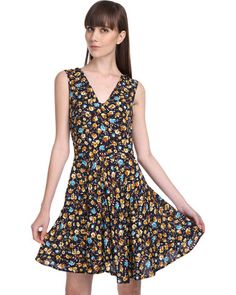 Roslyn Jacqueline Sunflower Print Swing Dress Black