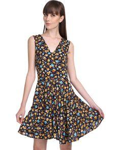 Roslyn Jacqueline Sunflower Print Swing Dress Black