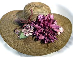 Cocoa Sinamay Kentucky Derby Spring Hat Plum by Marcellefinery, $52.00