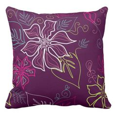 A lovely pillow on a plum colored background, with a floral pattern in contrasting colors. Pattern is on both sides of the pillow. Floral Throws, Floral Throw Pillows, Decorative Throw Pillows, Plum Color, Interior Decorating, Pastel, Colors, Board, Home Decor
