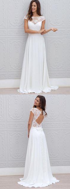 elegant cap sleeves wedding dresses with open back, fashion simple wedding dresses for special weddings, #beachwedding