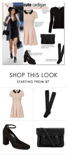 """""""School Girl"""" by igedesubawa ❤ liked on Polyvore featuring Aéropostale, Yves Saint Laurent, The Cambridge Satchel Company and Michael Kors"""
