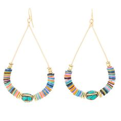 """FLASH SALE Vanessa Mooney Earrings Gypsy Jewelry Colorful African vinyl, turquoise and brass inlay beads with gold heishi and nuggets teardrop hoop earrings. 2.75"""". Handmade in LA. Brand new in box. I can't wear earrings anymore, so sadly never got to wear these gypsy gems. they're truly fabulous and the perfect length and not too heavy either. Vanessa Mooney Jewelry Earrings"""