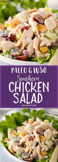 This easy Paleo Southern Chicken Salad is a classic American recipe you'll love! gluten free, low carb, healthy, and Whole30 compliant. Made with chicken, grapes, mayo and almonds.