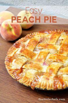 Easy Peach Pie Dessert Simple, Easy Peach Pie, Peach Pie Filling, Peach Pies, Fresh Peach Pie, Fresh Fresh, Köstliche Desserts, Dessert Recipes, Plated Desserts