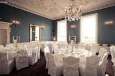 the blue dining room .Wedding photography by PK Dining Room Blue, Irish Wedding, Photography Services, High Quality Images, Wedding Photography, Weddings, Table Decorations, Furniture, Home Decor